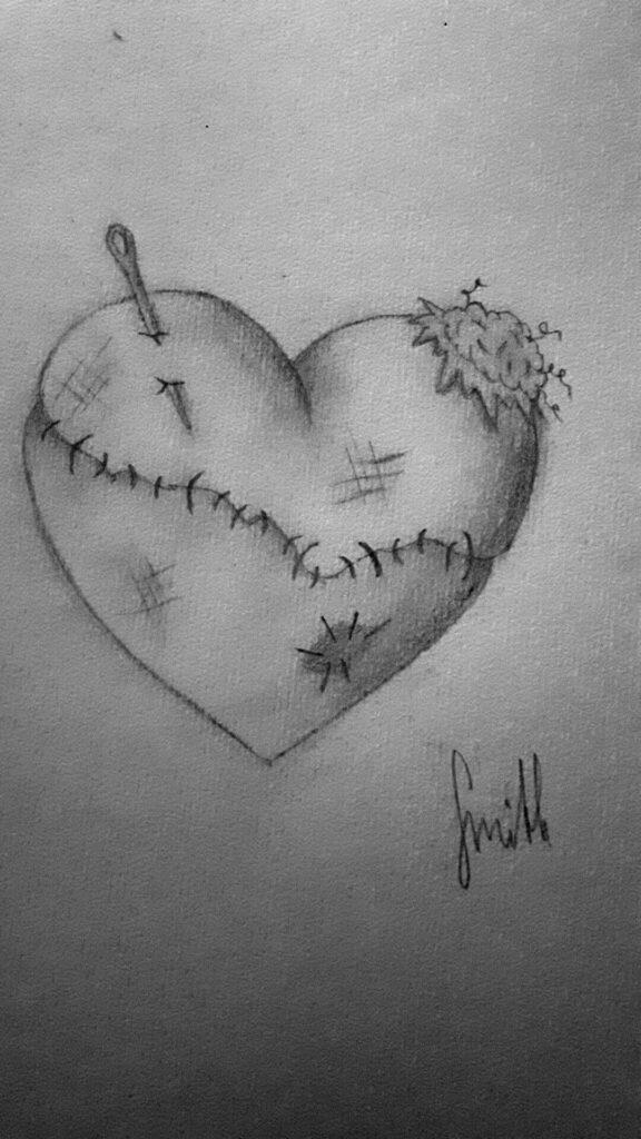 رسم حزين بالرصاص